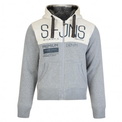 Smith & Jones Men's Soldeu Faux Fur Hooded Top Mid Grey Marl | Jean Scene