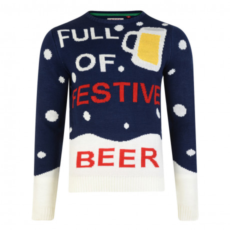 Novelty Christmas Jumper Crew Neck Season to be Trollied Beer Navy Blue