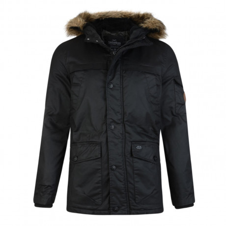 Threadbare Trent Waxed Faux Fur Parka Jacket Black