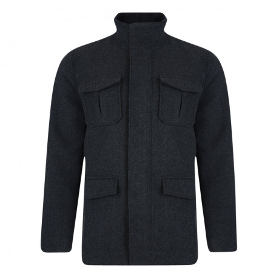 Threadbare Power Utility Wool Blend Over Coat Dark Charcoal