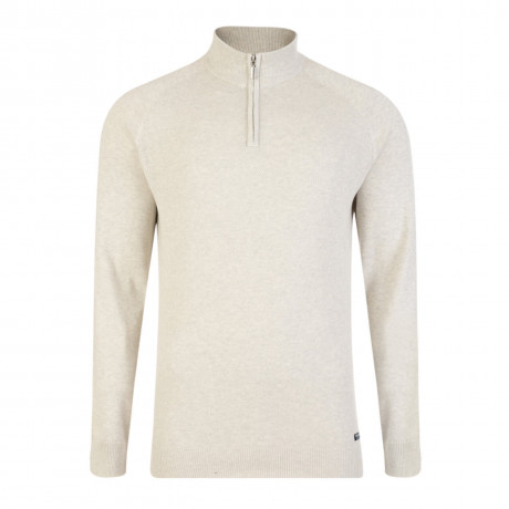 Threadbare Athens Zip Neck Cotton Jumper Snow Marl