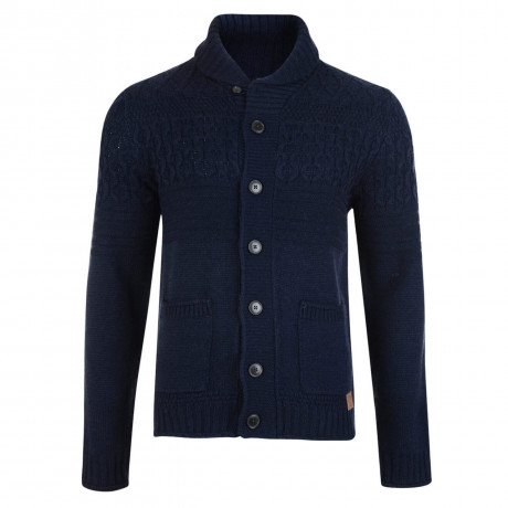 Threadbare Lille Cable Wool Blend Cardigan Navy