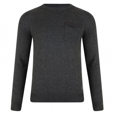 Threadbare Toronto Crew Neck Cotton Jumper Charcoal