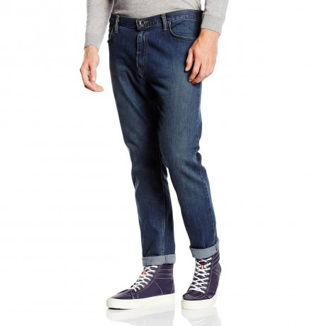VANS V46 Tapered Slim Denim Jeans Worn Indigo