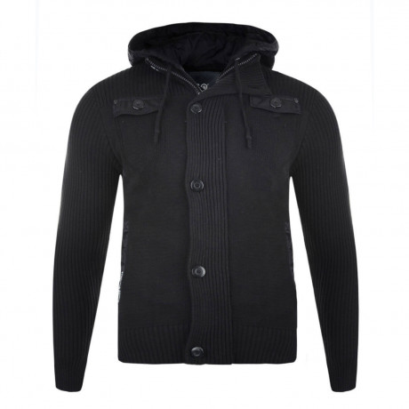 Crosshatch Ribbed Hooded Zip Knit Cardigan Black