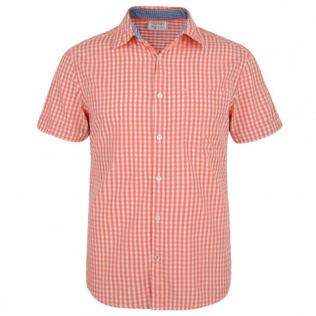 Esprit Slim Fit Short Sleeve Check Shirt Coral Pink