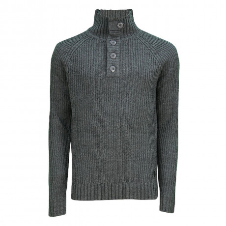 Soul Star Button Neck Bracken Knitted Jumper Charcoal