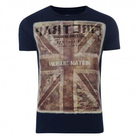 Firetrap Crew Neck Camo Union Print T-shirt Navy Blue Image