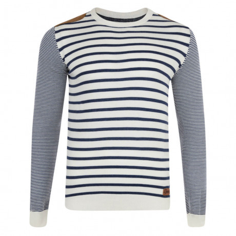 Smith & Jones Crew Neck Pictoris Striped Knit Jumper Lily White