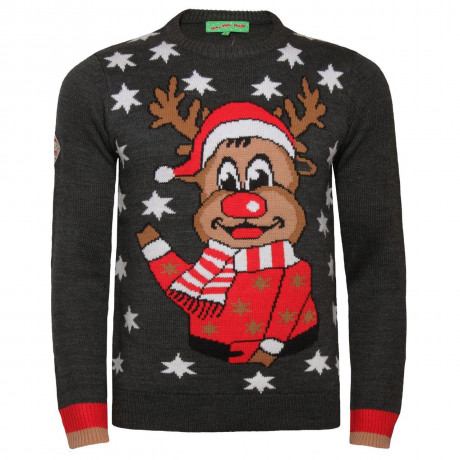 Novelty Christmas Jumper Crew Neck Reindeer Face Charcoal Marl