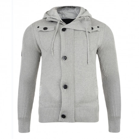 Crosshatch Ribbed Hooded Zip Knit Cardigan Top Grey