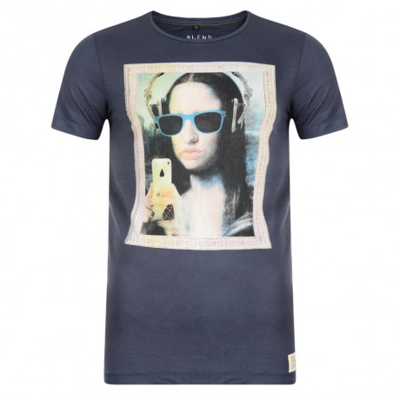 Blend Mona Lisa Grafty Print T-shirt Blue Image