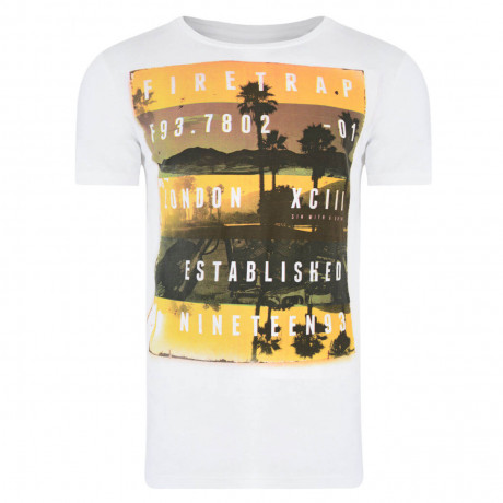 Firetrap Crew Neck Sunset Print T-shirt White Image