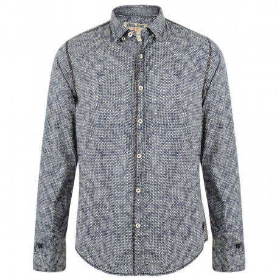 Garcia Jeans Long Sleeve Pattern Shirt Marine Blue Image