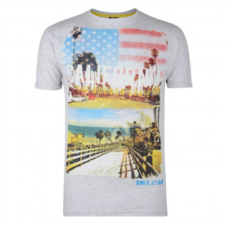 Soul Star Print T-shirt California Golden State Grey Image
