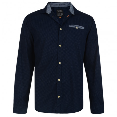 Blend Regular Fit Long Sleeve Pattern Shirt Navy Blue Image