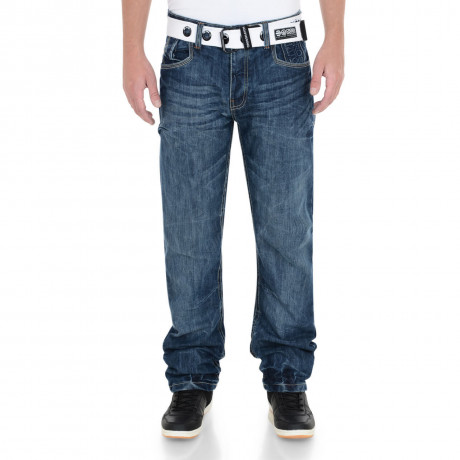Crosshatch Straight Fit Hornet Jeans Faded Mid Wash Image
