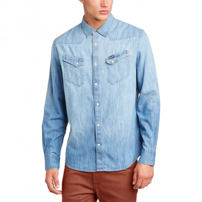 Wrangler Denim Shirt Long Sleeve Western Light Indigo Blue Image