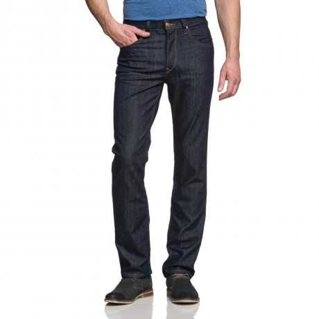Lee Brooklyn Straight Denim Stretch Jeans Dark Rinse Blue Image