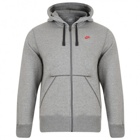 Nike Full Zip Hooded Sweatshirt Jacket Light Grey Image