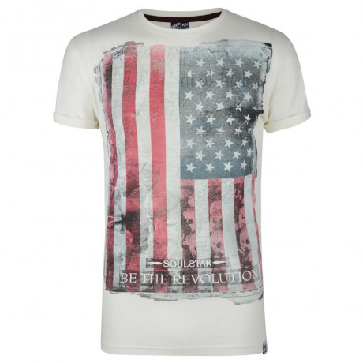 Soul Star Print T-shirt American Revolution Ecru Beige Image