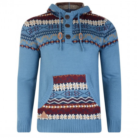 Rock & Revival Olly Fair Isle Hooded Knit Jumper Dutch Blue Image