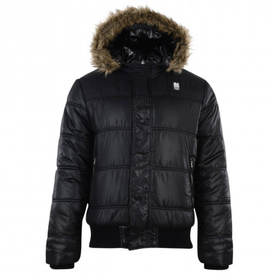 Crosshatch Faux Fur Flantise Parka Jacket Black Image