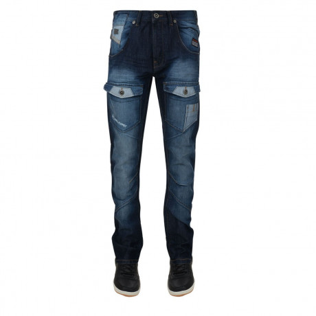 Rawcraft Tapered Fit Denim Jeans Faded Dark Wash Blue Image