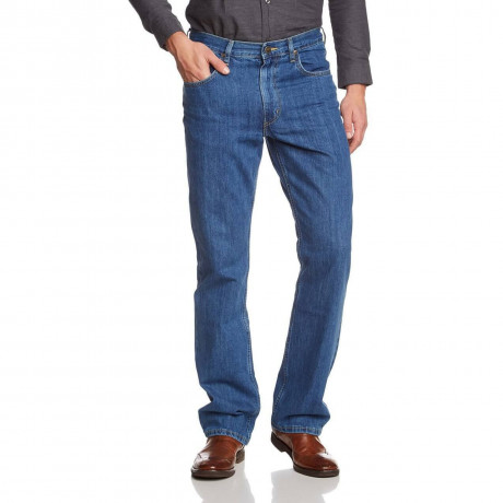Lee Brooklyn Straight Denim Jeans Stonewash Blue Image