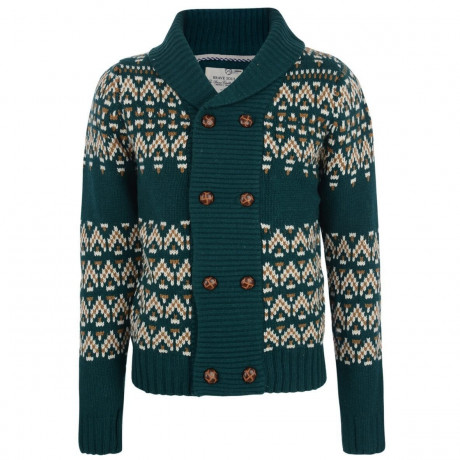 Brave Soul Heavy Knitted Button Front Cardigan Green Image