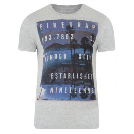 Firetrap Crew Neck Sunset Print T-shirt Grey Marl Image