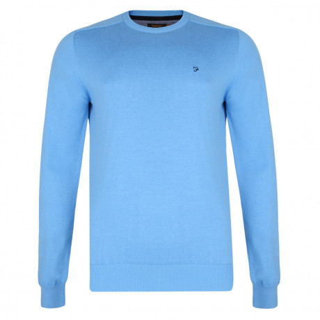 Farah Crew Neck Cotton Jumper China Blue Image