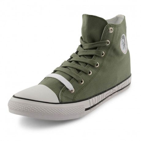 Diesel Mens High Top Canvas Fashion Shoes Khaki Image