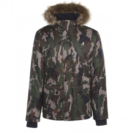 Kangol Faux Fur Montreal Parka Jacket Camouflage Green Image
