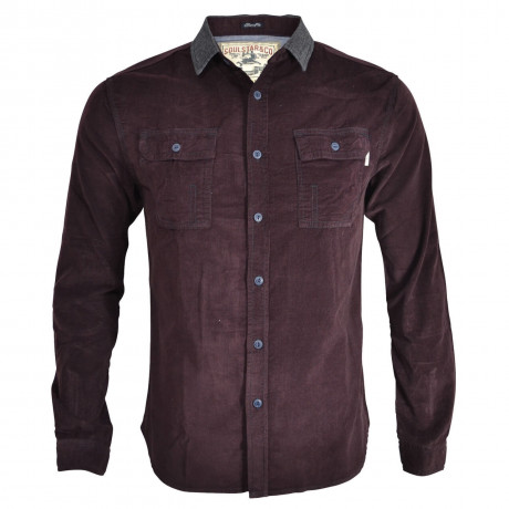 Soul Star Soft Cord Shirt Burgundy Image