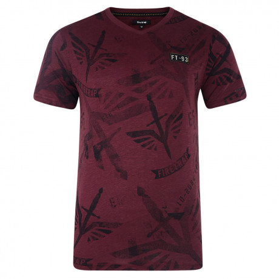 Firetrap Printed Killip T-shirt Burgundy Image