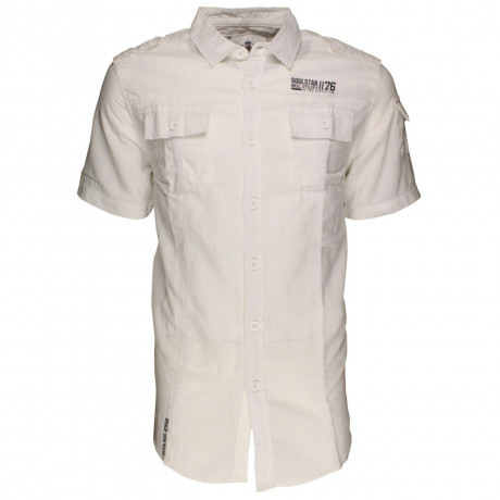 Soul Star Linen Cotton Short Sleeve Shirt White Image