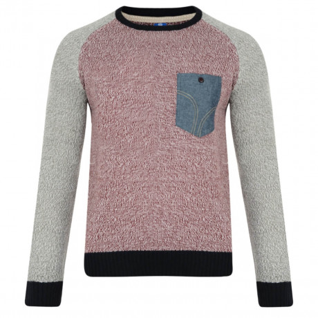 Smith & Jones Crew Neck Knitted Twister Jumper Tawny Port Image