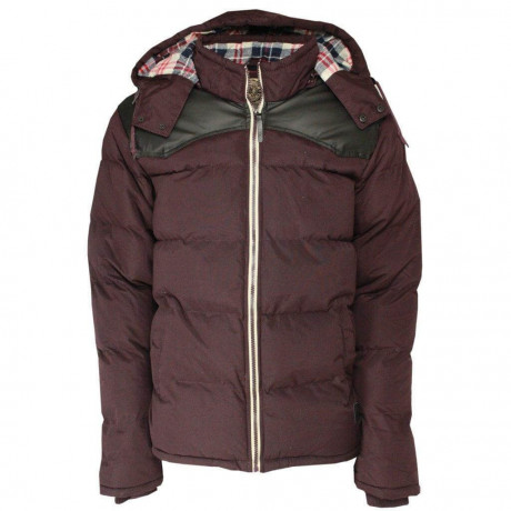 Soul Star Padded Hooded Swoosh Jacket Burgundy Image
