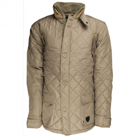 Soul Star Dimond Quilt Cord Collar Jacket Taupe Image