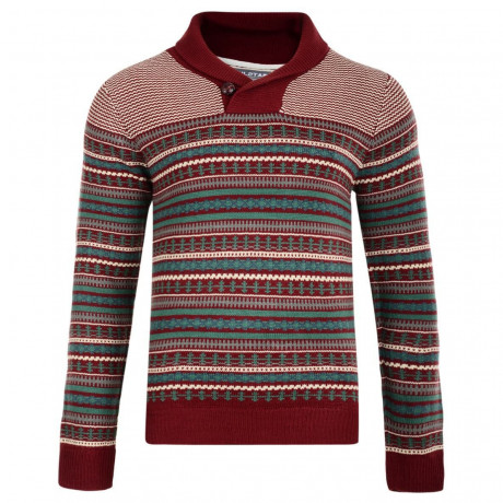 Soul Star Shawl Neck Norwegian Knitted Jumper Dark Red Image