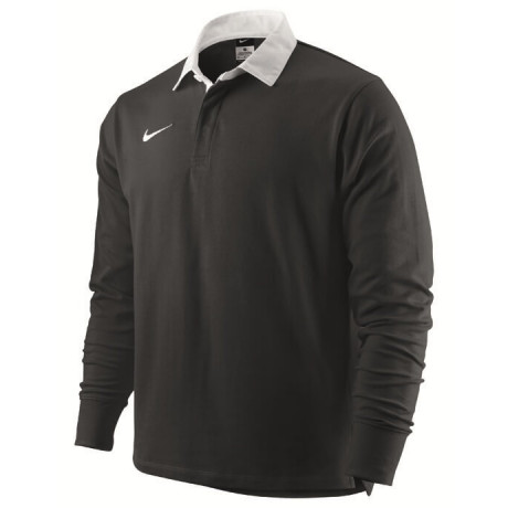 Nike Long Sleeve Cotton Rugby Shirt Black Jersey Top Image