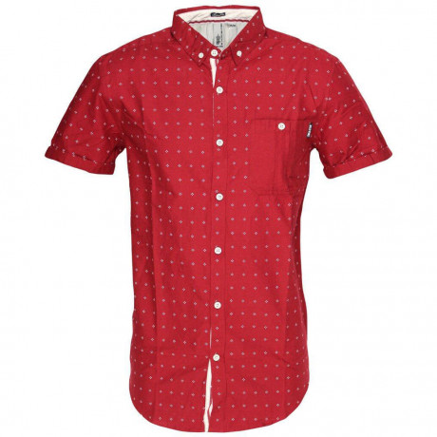 Soul Star Poker Dott Short Sleeve Cotton Shirt Red Image