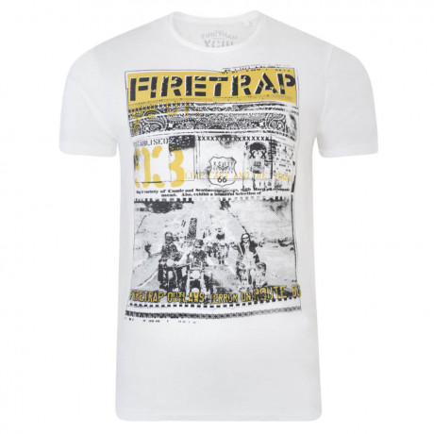 Firetrap Crew Neck Route 66 Print T-shirt White Image