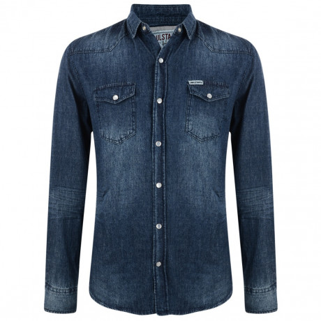 Soul Star Fashion Denim Shirt Zinc Blast Blue Image