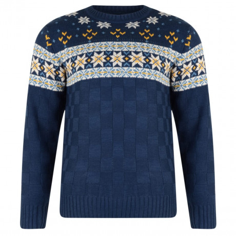 Rock & Revival Blitz Fair Isle Crew Neck Knit Jumper Navy Blue Image