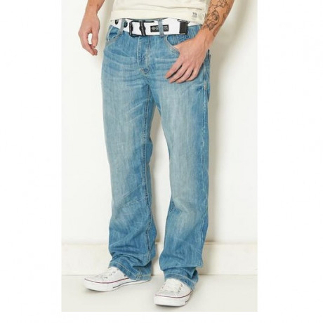 Crosshatch Straight Fit Denim Jeans Faded Light Wash Blue Image