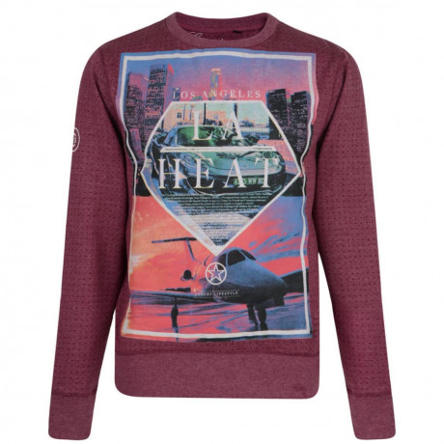 Conspiracy Print Sweatshirt LA Los Angeles Red Image