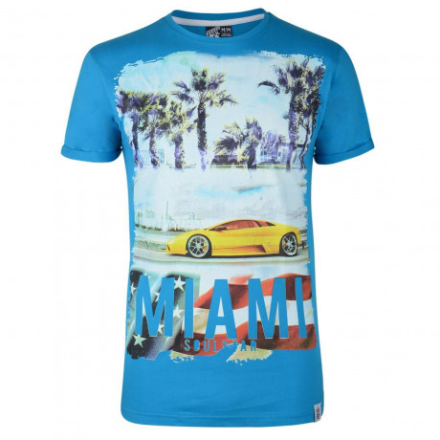 Soul Star Print T-shirt Miami Car Turquoise Blue Image