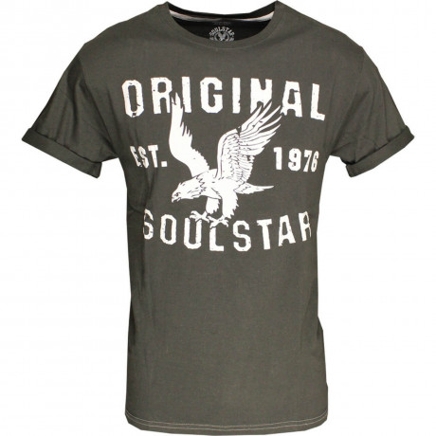 Soul Star Eagle Print T-shirt Charcoal Image